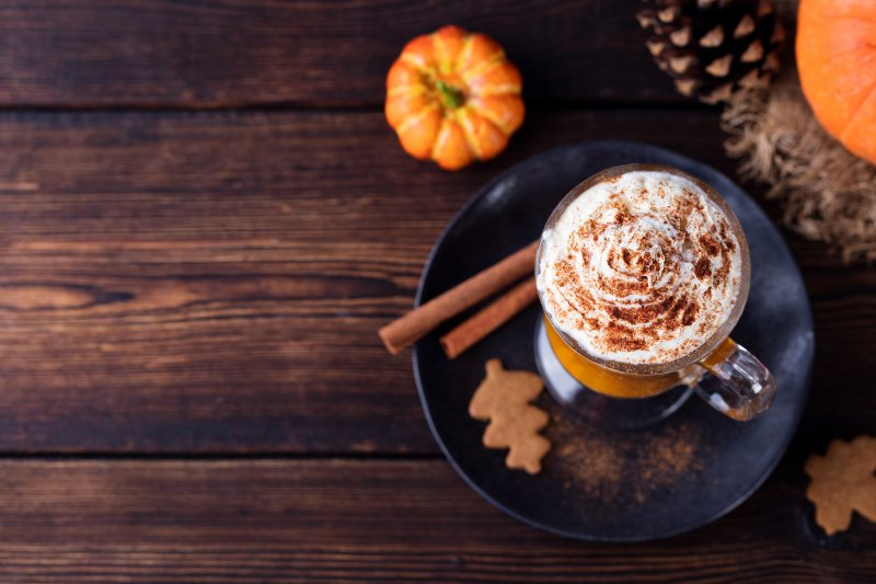 a fall tabletop with hot coffee